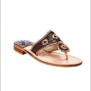 Jack Rogers Lizard-Embossed Leather Sandal